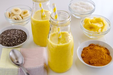 Pineapple, Banana, Coconut, Turmeric and Chia Seed Smoothies