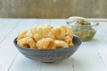 Pork rinds also known as chicharon or chicharrones