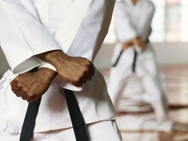 Mid section view of a man performing karate