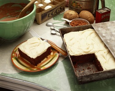 Chocolate cake in pan