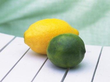 Whole lemon and lime, High angle view
