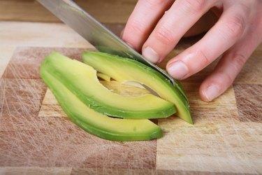 Cutting the avocado