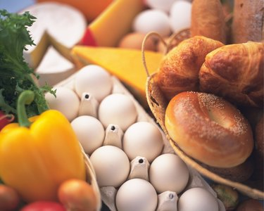 Bread and Egg, High Angle View, Differential Focus