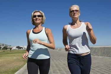 Women walking on sidewalk