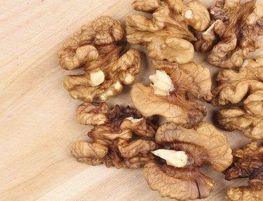 Close up of bunch walnut kendels.