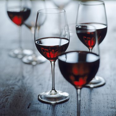 Glasses of red wine, close-up