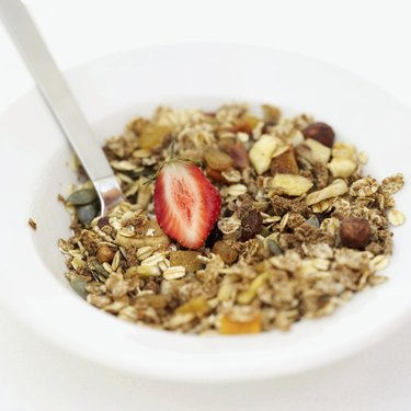 Close-up of a bowl of breakfast cereal