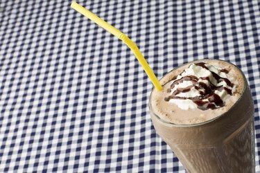 Chocolate Milkshake on Blue Gingham