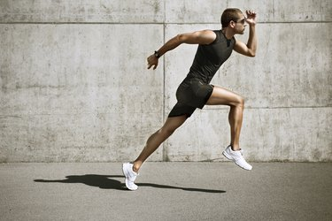 sport man starting running