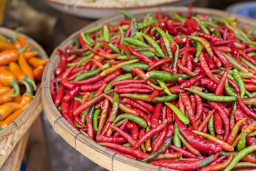 Food market with fresh chili peppers