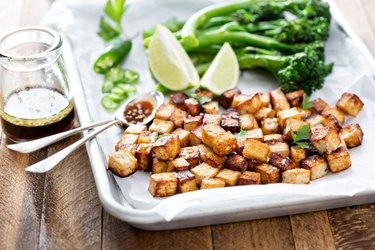 Stir fried tofu in a baking pan
