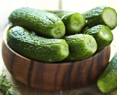 Fresh salted cucumbers