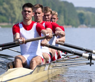 Rowers during the start