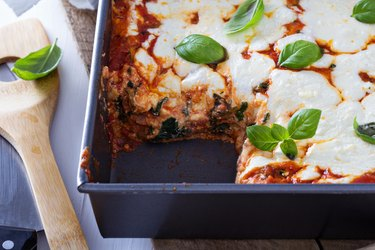 Spinach, ricotta and bacon lasagna