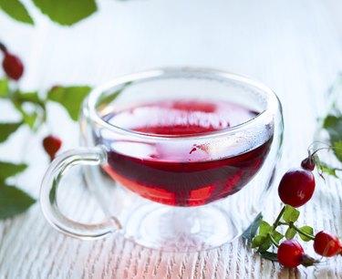 fresh herbal rose hip tea