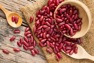 Red bean on rural cookware