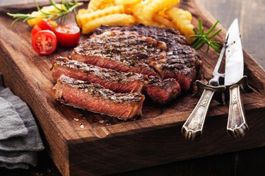 Sliced Steak Ribeye with french fries