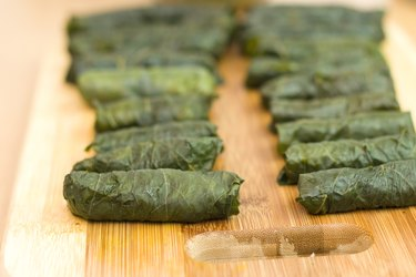 Turkish dolma, grape leaves and rice