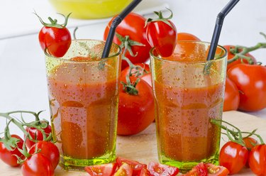 Tomato juice in glasses.