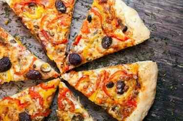 Pizza cut into slices