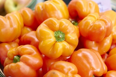 Orange Bell Peppers For Sale In the Market