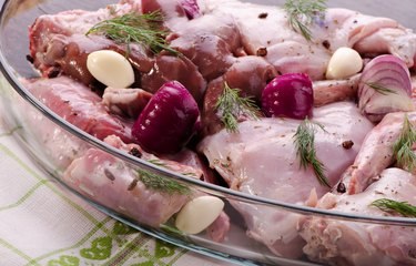marinated meat, raw rabbit meat