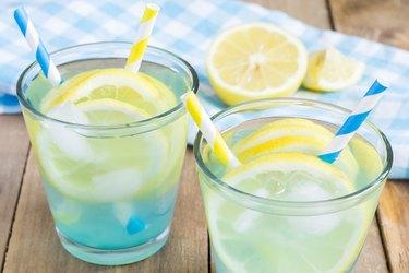 Blue lemonade with fresh lemons