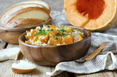 Pumpkin stew with rice and meat