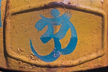Om, Holy Sign Painted on wall, India