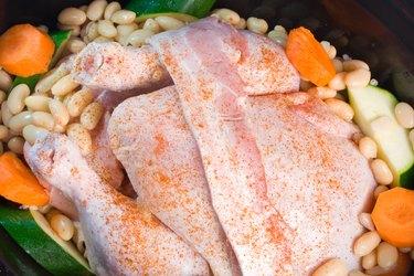 Fresh chicken prepared for slow cooker