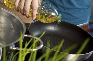 Oil into fryer