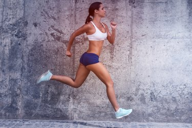 Woman Running to Slim Her Thighs