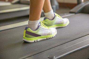 Warming up on treadmill