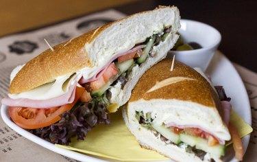 Sandwich with salami.