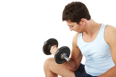Man Doing Arm Curls - Isolated