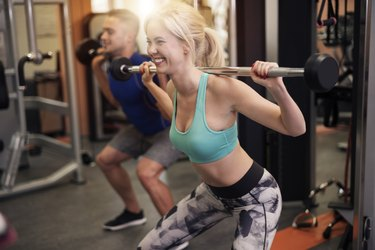 Squat exercise at the gym