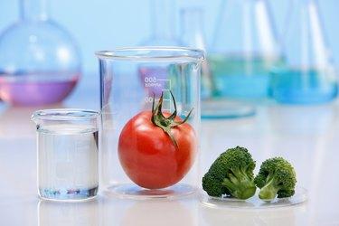 Tomato and broccoli in labware