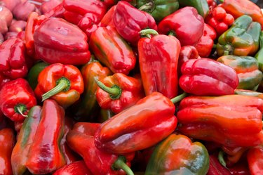 Fresh red peppers