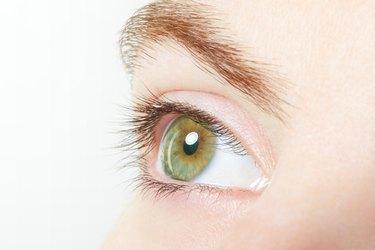 Human, green healthy eye macro