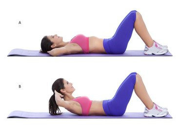 Step by step instructions for abs: Lie flat on your back and place your hands behind your head. Bend your knees and firmly plant your feet on the floor. This is your starting position. (A)With your elbows flared, tighten your abs, and lift your shoulders and upper back off of the floor. Hold at the top for a second and then retract back down to starting position. (B)