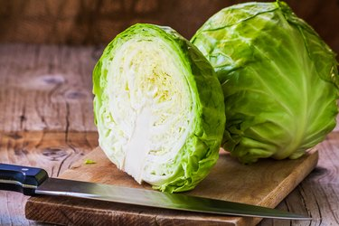 Fresh cabbage cross section with water drops