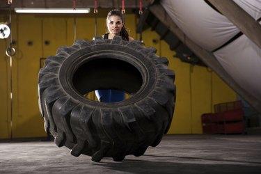 Tire flip in a gym