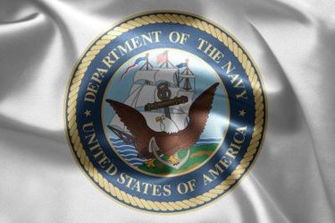 Flag for the United States Navy. Close up.