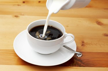 Closeup of coffee with milk
