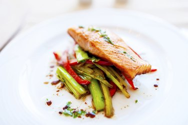 Smoked salmon with fried vegetables as main dish