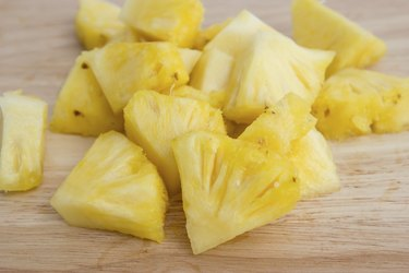 Pineapple slices on the wooden