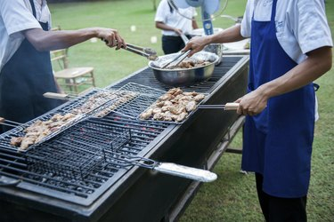 Preparing barbecue for the guests