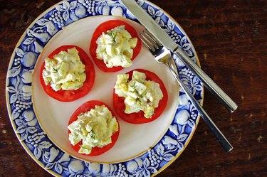 Egg salad on sliced tomatoes