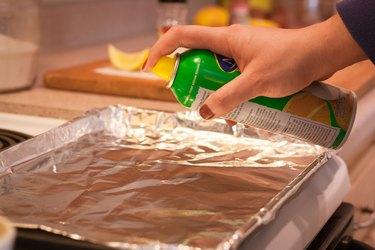 Hand spraying aluminum foil