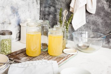 Bone broth in jars